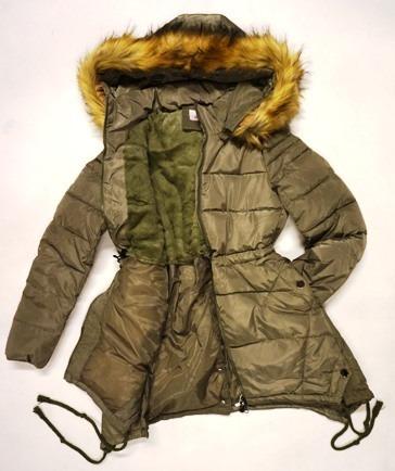 8186bcaff062d Kurtka zimowa młodzieżowa damska khaki zielona pikowana puchowa z kapturem