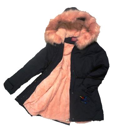 Kurtka zimowa dziewczęcadziecięca granatowa parka z jasnoróżowym futrem i kapturem
