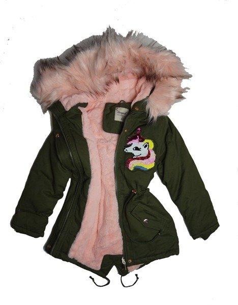 Kurtka zimowa dziewczęcadziecięca parka z jasno różowym futrem i kapturem naszywka cekinowy Jednorożec Unicorn.